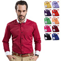 Бесплатная доставка мужские рубашки высокого качества рубашка для человека белый воротник Цвет соответствия случайные рубашки мужчин 10 цветов большой размер