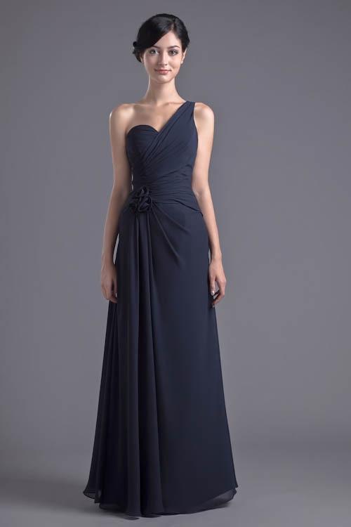 Robe Demoiselle D'honneur Navy Blue One Shoulder   Bridesmaid     Dresses   Chiffon Long Wedding Guest   Dress   with Flower