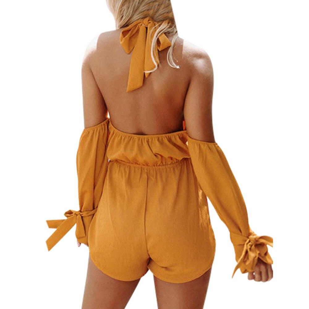 Women Elegant Overalls Sexy Solid Halter Neck Cold Shoulder Backless Playsuit Jumpsuit Overal Women Jumpsuit