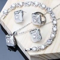 6fcd148f0642 Dubai Jewelry Sets White Cubic Zirconia Silver 925 Jewelry For Women  Wedding Bracelet Ring Necklace Earrings