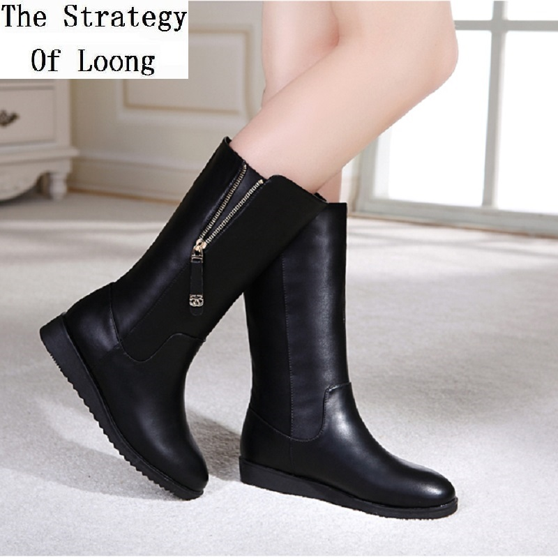 2015 New Arrival Winter Women Wedges Round Toe Side Zipper Fashion Warm Mid Calf Black Boots Size 35-40 SXQ0826 new arrival women shoes comfortable patnet leather round toe slip on for women mid calf boots side zipper lady punk shoes red