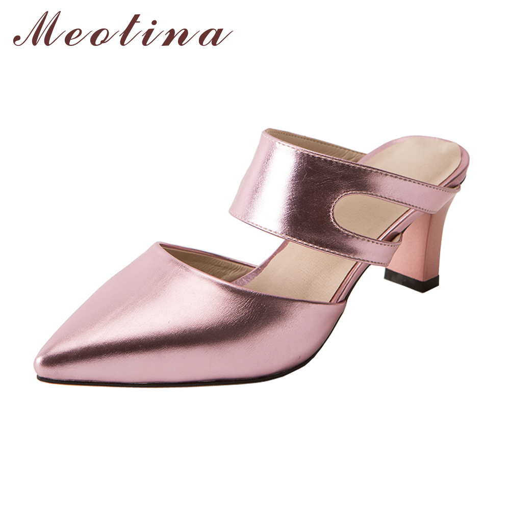 Meoitna Mules Shoes Summer Women Slides High Heel Slippers Cutout Ladies Heel Slides Shoes Women White Sliver Red Big Size 42 43 meilikelin street style women slippers metal chain high heels slides shoes summer women sandals high heel flip flop mules shoes