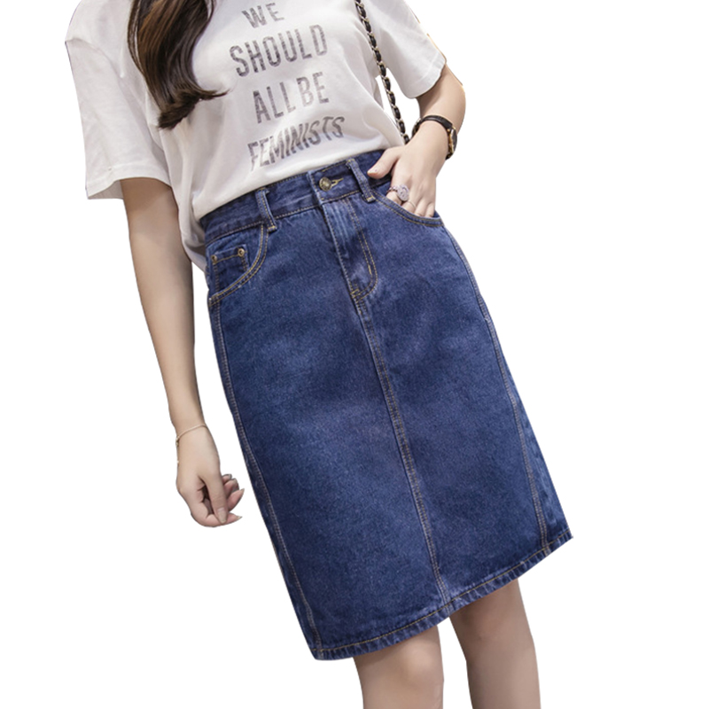 Plus Size 5XL 2019 Fashion Woman Skirts Slim High Waist Denim Skirt Women Casual Jeans Skirt Gloria + Jeans Midi Summer Skirt