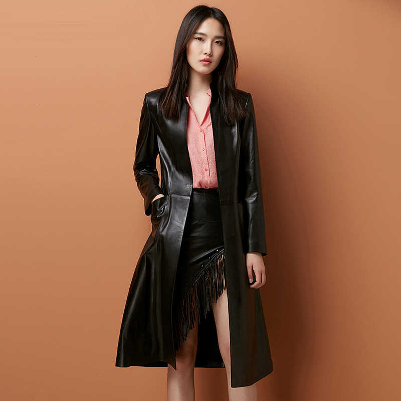 Women PU Leather Trench Coat High Quality 2018 New Autumn Winter PU Leather Coats Long Slim PU Leather Trench Plus Size M-4XL