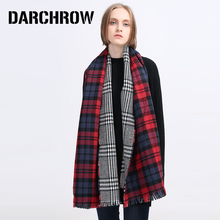 DARCHROW Top Quality Winter Plaid Scarf Women Blanket Shawl Pashmina Wrap Tartan Cashmere Scarf  Women's Scarves