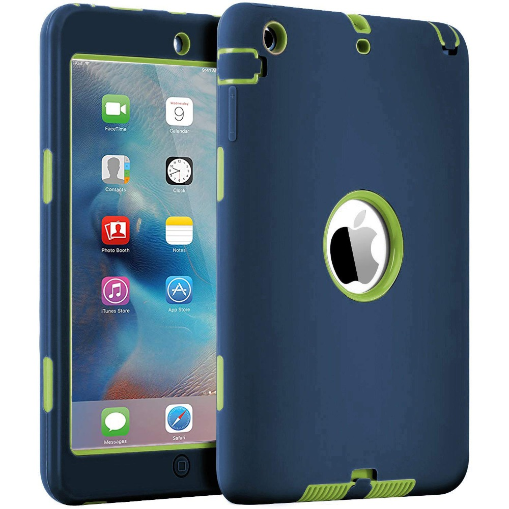 For iPad Mini 1/2/3 Retina Case 3 in1 Anti slip Hybrid Protective Heavy Duty Rugged Shockproof Resistance Cover For iPad Mini|Tablets & e-Books Case| |  - title=