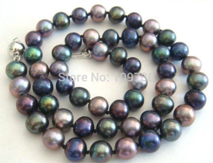 Genuine Natural 9-10mm tahitian peacock green black pearl necklace 18 inches AAA
