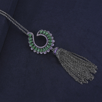 Fashion Long Chains Sweater Necklaces Hook Shape Chains Tassel Cubic Zirconia Inlaid Jewelry Statement For Women Girls