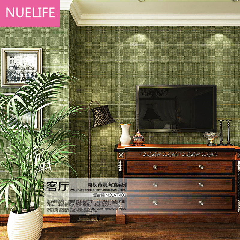 все цены на 0.53x10m Dark blue lattice pattern wallpaper english style living room  bedroom wallpaper Mediterranean TV background wallpaper онлайн
