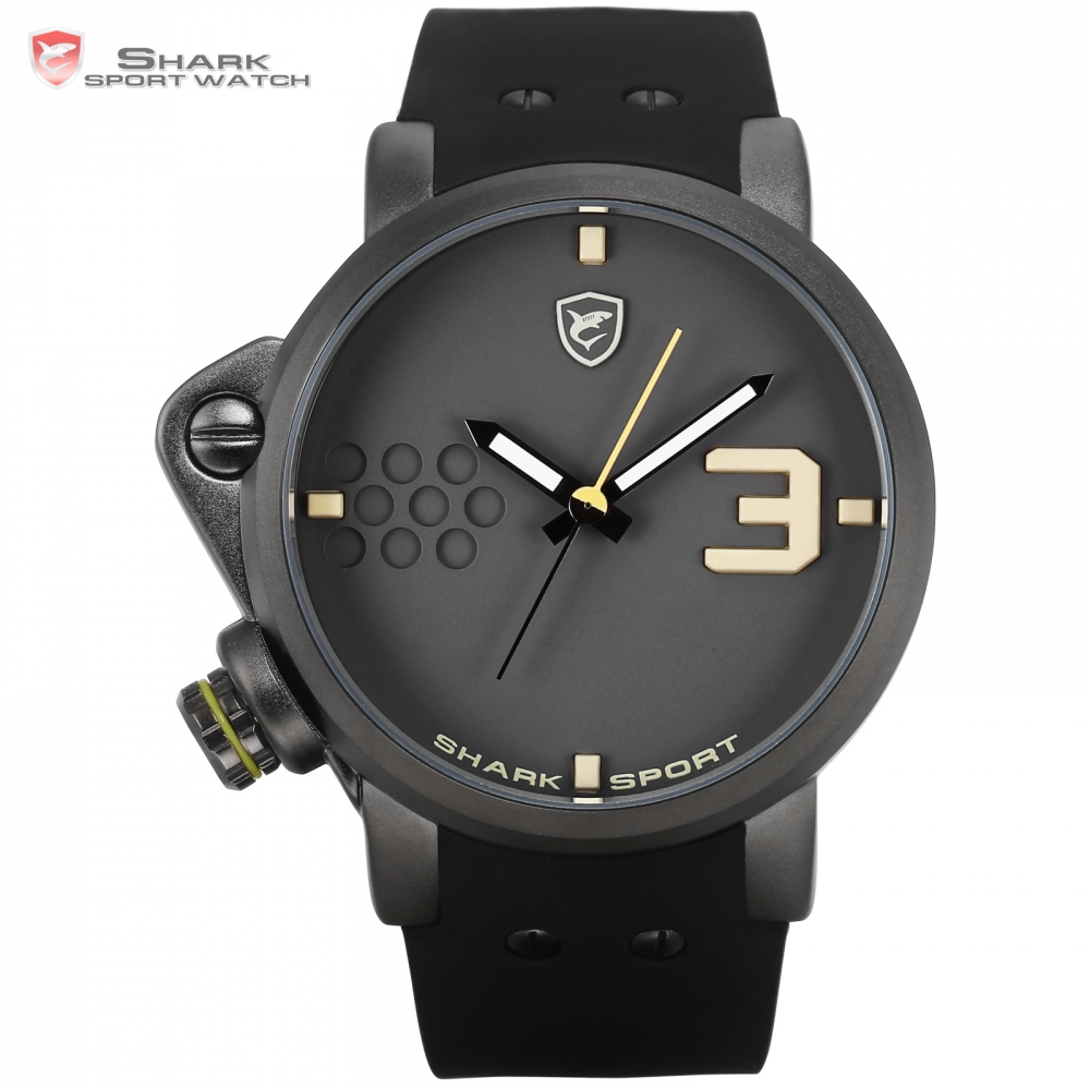 Salmon SHARK Sport Watch Yellow Men Man Top Brand Luxury Quartz-Watches Silicone Watches Waterproof Relogio Heren Hodinky /SH519 2017 new top fashion time limited relogio masculino mans watches sale sport watch blacl waterproof case quartz man wristwatches