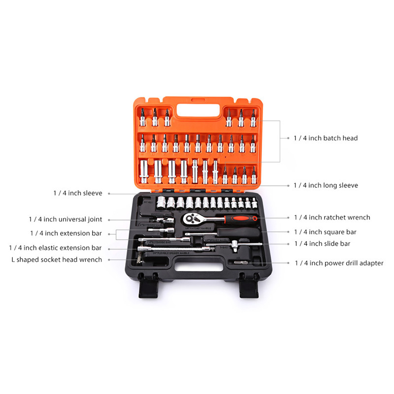 Image 5 - 53pcs Automobile Motorcycle Car Repair Tool Box Precision Ratchet Wrench Set Sleeve Universal Joint Hardware Tool Kit For Car
