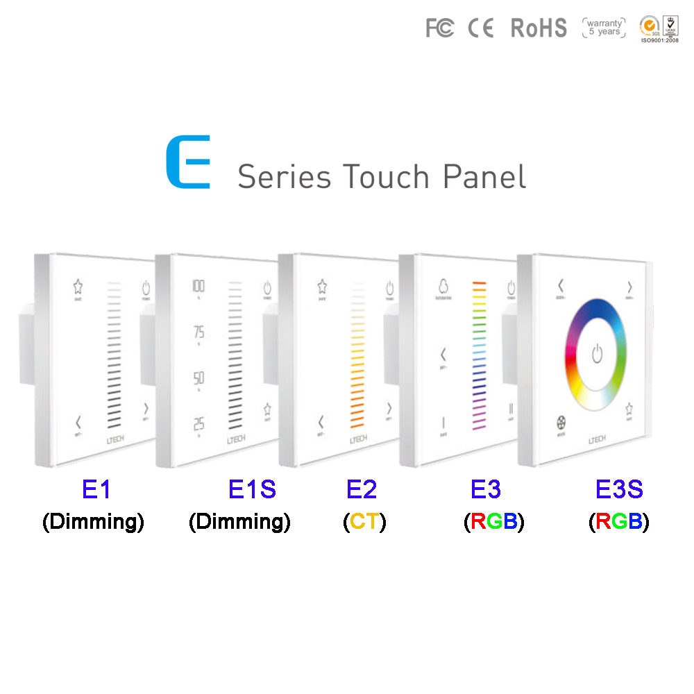 E1/E1S/E2/E3/E3S Wall Mount 2.4GH RF Dimming/CT/RGB led touch panel dimmer DC12-24V Max 4A/8A/12A led strip switch controller dc12 24v 16a 4a ch black wall mounted rgb touch panel led controller touch panel rgb full color led controller