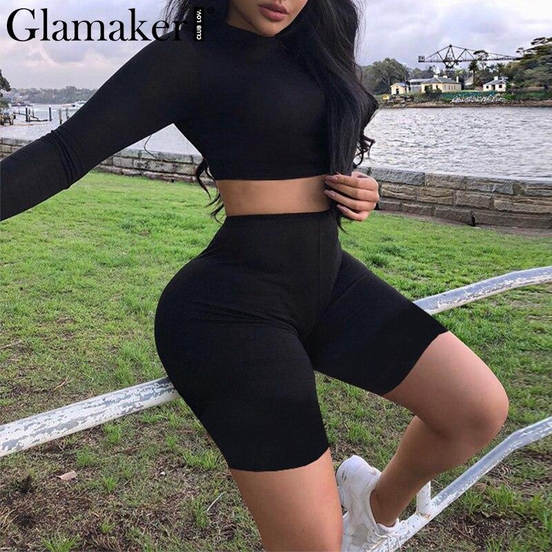 Glamaker Sexy black trutleneck playsuit Women summer long sleeve crop   jumpsuit   rompers Female elegant vintage playsuit overalls