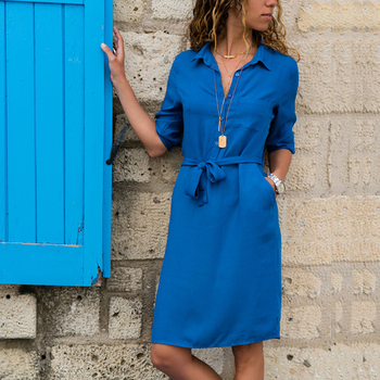 AiiaBestProducts Autumn Winter Women Three Quarter Shirt Dress