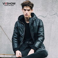 VIISHOW Thick Warm Casual Winter Jacket Men Motorcycle Jacket with Hood Men Black Jacket Plus size Parkas And Coats 5XL M148654