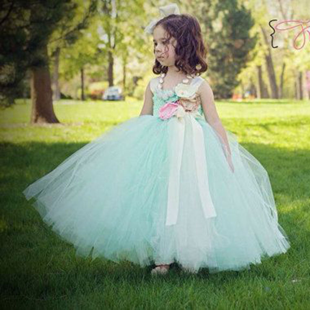 Spring Summer Girls Dresses Real Photo Mint Green Flowers Girl Dresses For Wedding Princess Tutu Dresses For Kid Evening Dress