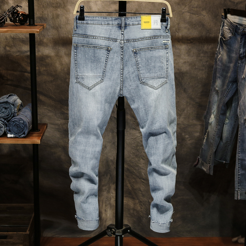 mens jeans brand ripped jeans for men skinny fit light blue elastic denim pants biker patched