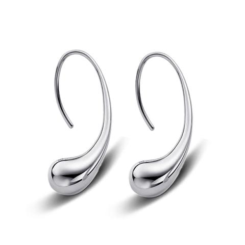 Простые гладкие серьги гвоздики в форме капли для женщин ювелирные