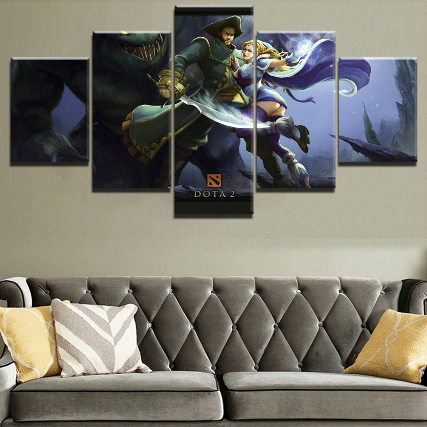 5 Piece DOTA 2 Game Painting Canvas Printed Game Poster HD Print Painting Decorative Picture Home Living Room Wall Art Canvas in Painting Calligraphy from Home Garden