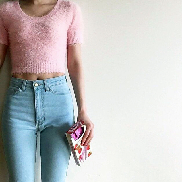 Mulheres da American Apparel aa Clássico Calça Jeans de Cintura Alta Femininos Calças Skinny Lápis Denim Calças Vaqueros Mujer