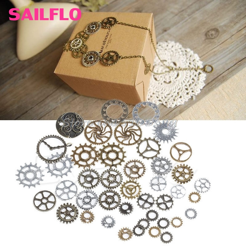42Pcs/Pack Mix Alloy Mechanical Steampunk Cogs & Gears DIY Pendant Jewelry Craft -B119