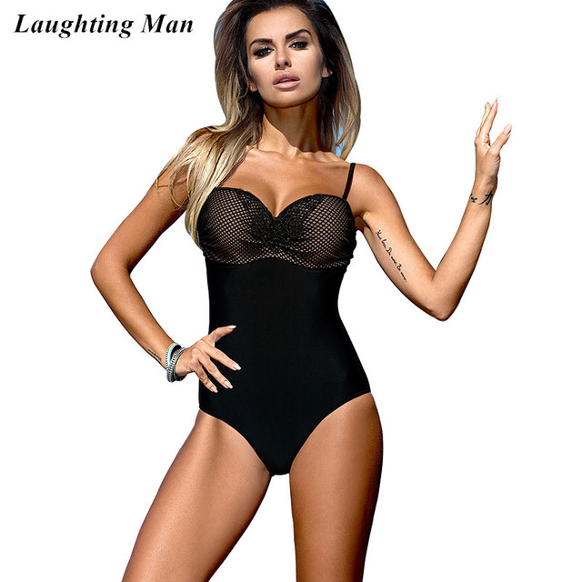 c255942b94 Laughting Man 2019 New One Piece Lace Patchwork Swimwear Women Swimsuit  Summer Beach Wear Bathing Suit Biquini Maillot De Bain