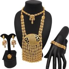 Свадебное ожерелье невесты, новый дизайн, Дубай, золотое покрытие, ювелирные наборы, браслет, кольцо, африканские большие ювелирные наборы