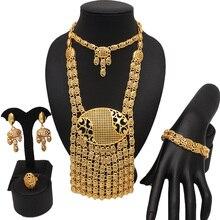 Sposa di cerimonia nuziale della collana di nuovo disegno dubai oro placcatura set di gioielli braccialetto anello africano grandi insiemi dei monili