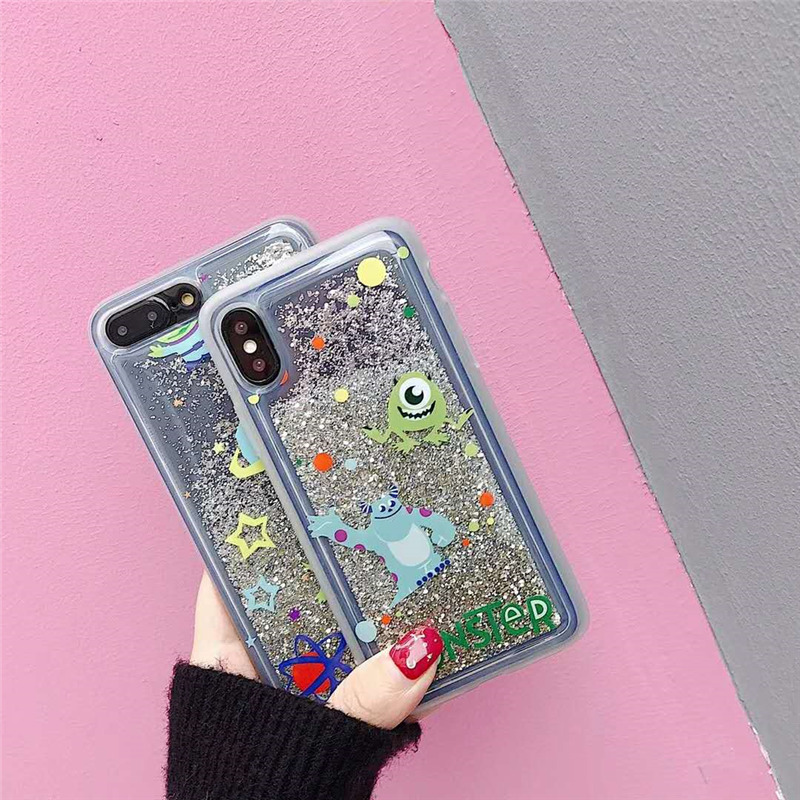 Bling Monsters University Mike & Sullivan Couverture Glitter Liquide Quicksand Téléphone cas Pour iPhone X 6 6 s Plus 7 8 Plus Fundas Coque