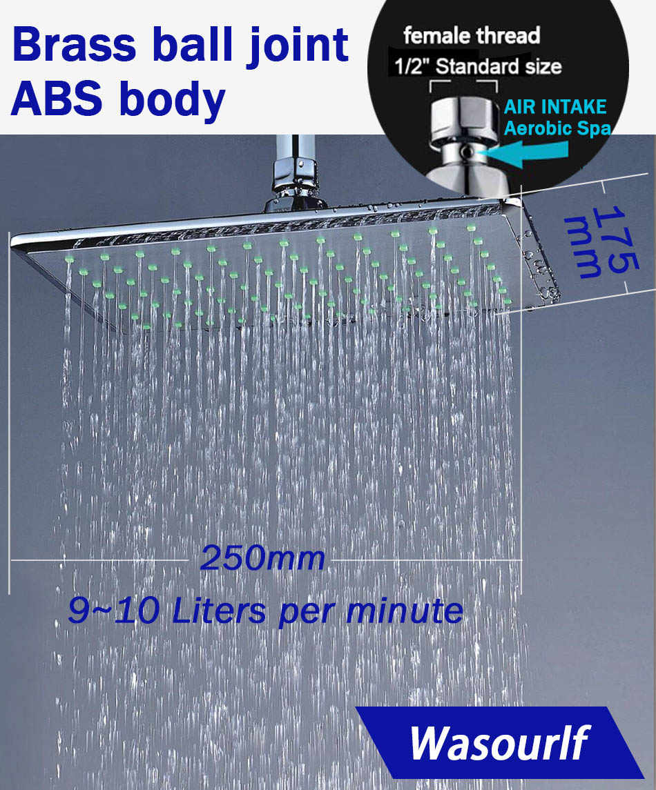 WASOURLF Rain Shower Head Wall Mounted Dish  Ceiling Shower Square Water Saving Top Sprayer Chrome Overhead Shower Bathroom