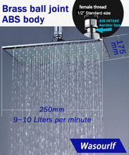 WASOURLF Rain Shower Head wall Mounted dish shower square water saving chrome plated overhead shower bathroom 304 stainless steel gooseneck square chrome rain shower wall mounted shower arm for shower head