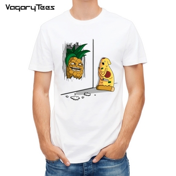 Newest Funny Pineapple&pizza Design Printed T-Shirt Fashion Cartoon yummy food T Shirt Summer Men's Novelty Cool Tee Tops - discount item  45% OFF Tops & Tees