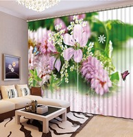 customize Flower butterfly curtains for bedroom living room blackout curtains photo tapete