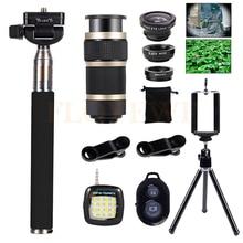 Buy online 8X Telescopic Zoom Telephoto Lenses Wide Angle Macro Fish eye Lentes Tripod For Phone Xiaomi mi6 Selfie lamp 15in1 Mobile lens