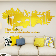 Nordic ins style Forest flamingo acrylic 3d self-adhesive wall sticker Bedroom creative livingroom TV background decoration