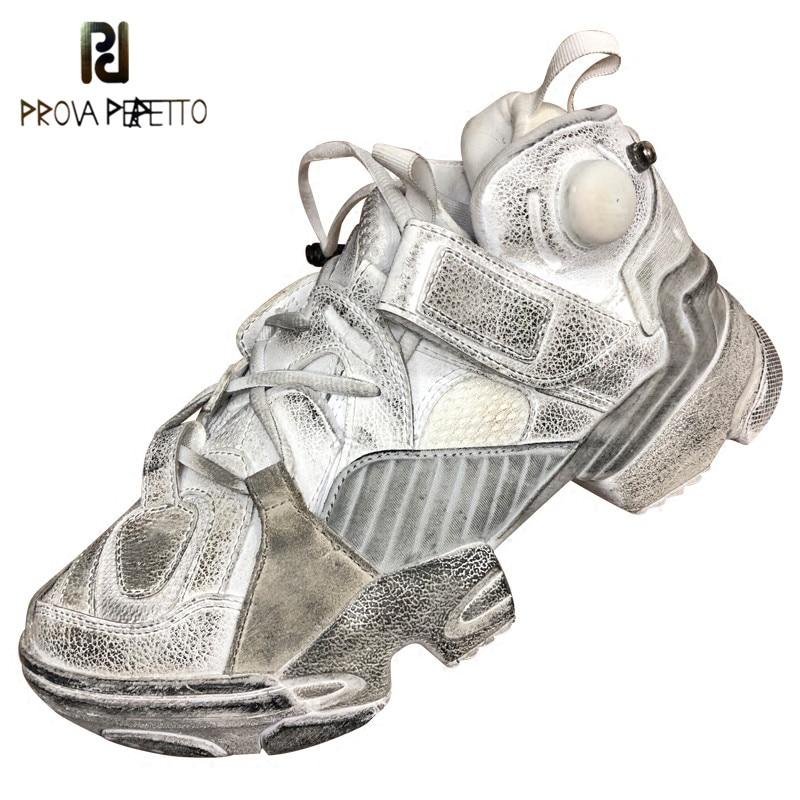 Ayakk.'ten Vulkanize Kadın Ayakkabıları'de Prova Perfetto 2018 Sıcak Eski Kirli Ayakkabılar Kadın Ayakkabı Yuvarlak Ayak Daireler Kadınlar Severler beyaz ayakkabı Retro Platformu rahat ayakkabılar'da  Grup 1