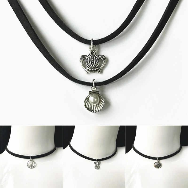 Nieuwe Mode-sieraden Eenvoudige Zwart Fluwelen Lint Crystal Ketting Lichtmetalen Hanger Chokers Ketting Voor Vrouwen 2019 Sieraden Gift