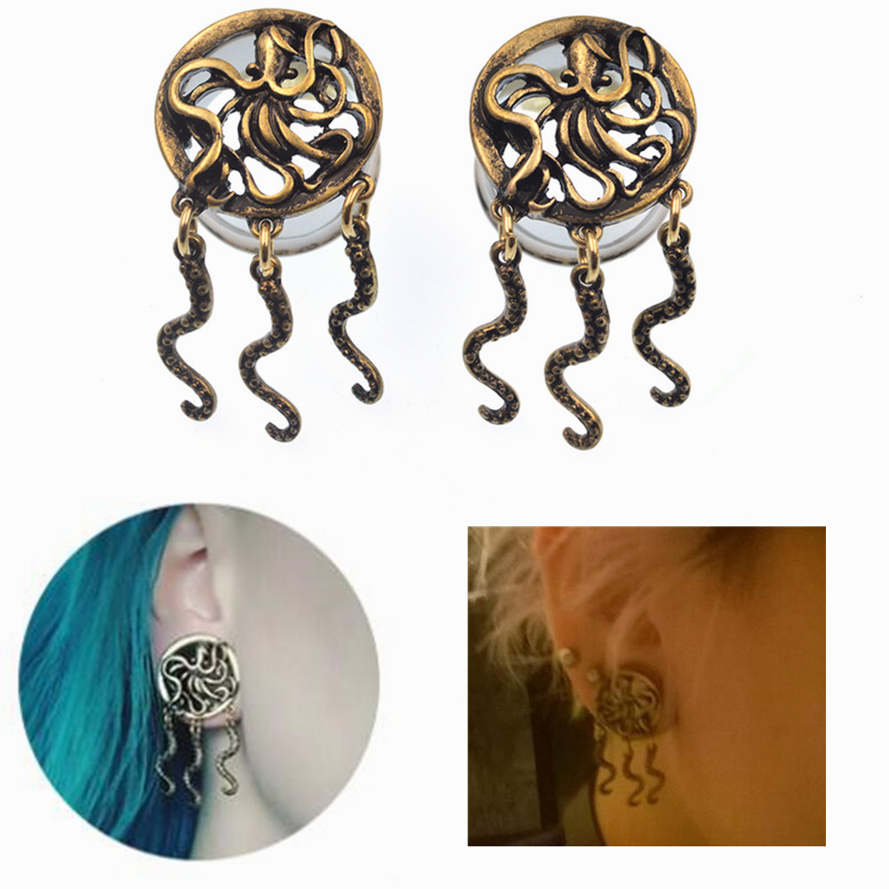 BODY PUNK Octopus Design Ear Plugs Hollow Expander Stretcher Plugs And Tunnels 6-25mm Helix Piercing Jewelry alargador de orelha