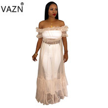 59e165bfde6e VAZN 2018 hot solido di estate delle donne del vestito lungo slash neck  manica corta vedere attraverso il vestito delle signore .