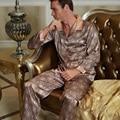 2016 Мужская пижама из искусственного шелка с длинным рукавом 20506