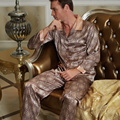 Male Nightwear Real Pyjama 2017 New Men Pajama Sets Pijamas Turn-Down Collar Imitation Silk Sleepwear Full Sleeve Nighty 20506