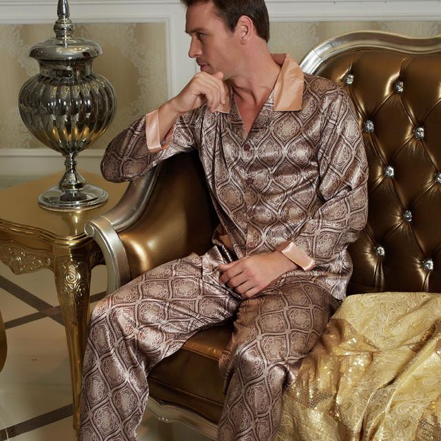 Masculina ropa de Dormir Real Pijama 2017 Nuevos Hombres Vuelta-Abajo Al Collar de Imitación de Seda del Pijama Conjuntos de Pijamas ropa de Dormir Camisón de La Manga Completa 20506