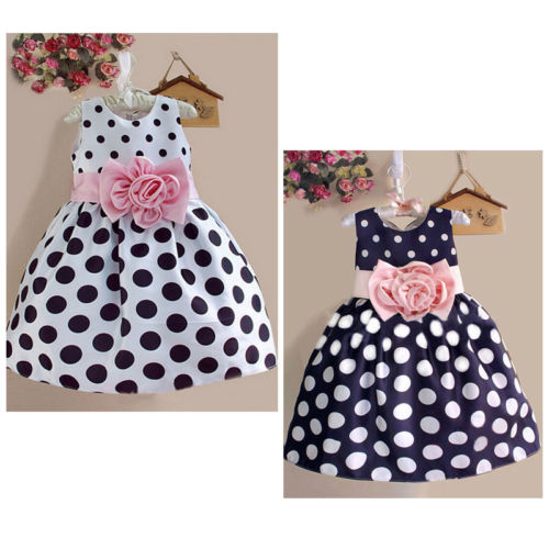 Hot Baby Kids Girls Party Wedding Polka Dot Sleeveless Bow Flower Gown Formal Dress 2-7Y