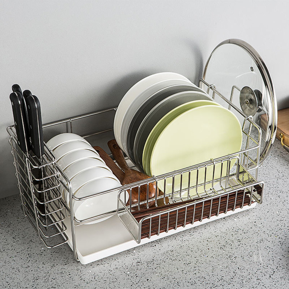 Stainless Steel Dish Rack Set 3 Tier Kitchen Organizer Tools Plate