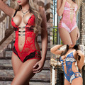 2016 plus size XXXL sexy lingerie hot 3 color lace perspective deep_v neck teddy sexy erotic lingerie sexy babydoll lenceria