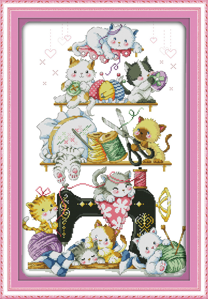 Joy Sunday kitten beside the sewing machine cross stitch pattern kits handcraft make embroidery with chart