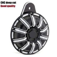 MOTORCYCLE Black Silver Deep Cut CNC Horn Cover For 1991 2014 Harley FLT Touring Big Twin