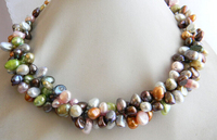 HOT N813 3Strands 6MMX9MM Multicolor Baroque Freshwater Pearl Necklace