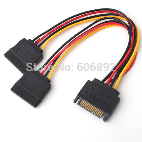 FREE SHIPPING WHOLESALE 10pcs/lot 15pin SATA Cable Hard Disk Power Male to 2 Female Splitter Y 1 to 2 extension Cable