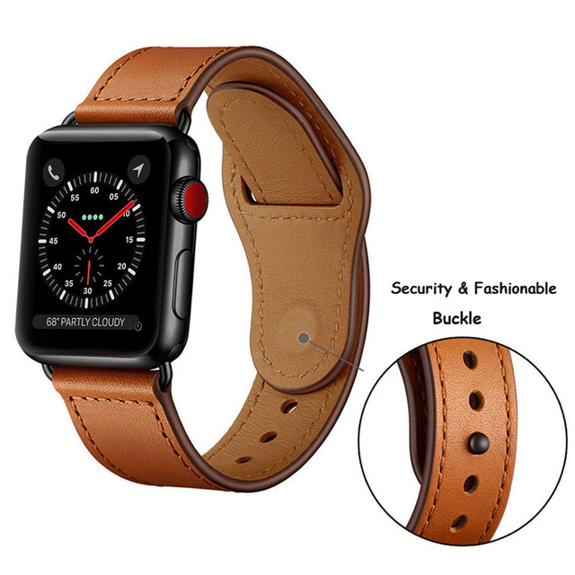 strap for apple watch band Genuine leather loop 42mm 38mm watchband for iwatch 44mm 40mm 4/3/2/1 bracelet accessories